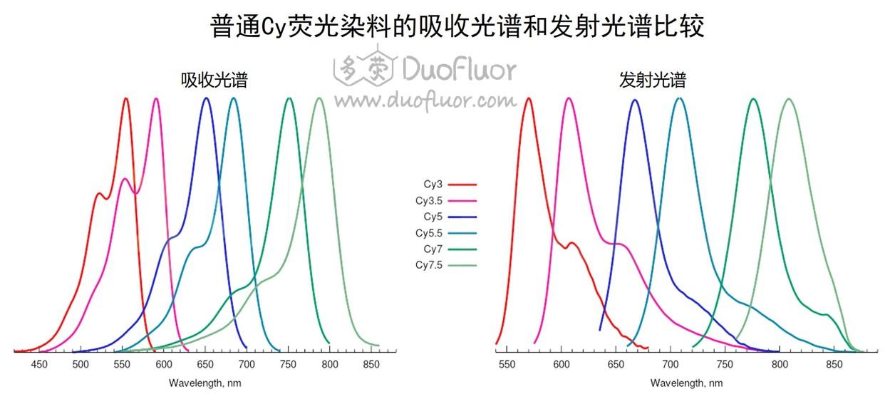 cy染料吸收与发射荧光光谱图